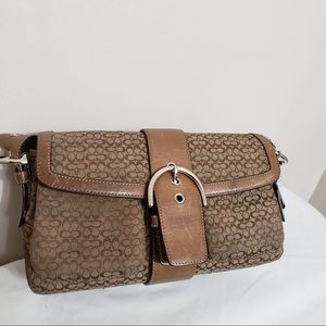 🌸 Coach Classic Brown Monogram Slim Shoulder Bag